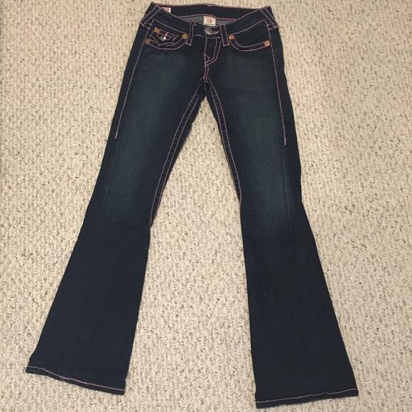 True Religion Rainbow Joey Women's Jeans Pink 24